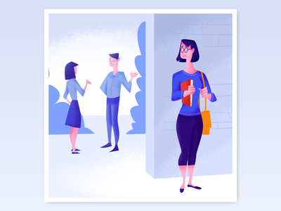 Social Anxiety drawing sketch character art illustration ux ui mobile app app social positive