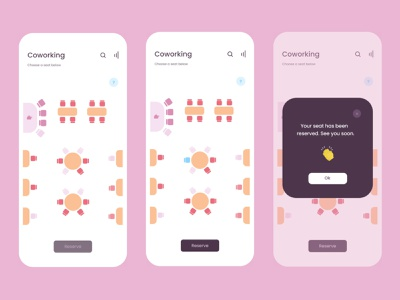 🌺Coworking App ux ui seating chart product design pastel freelance coworking space coworking adobexd adobe