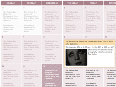 Vimpt Events Calendar listing events ui adaptive responsive calendar website