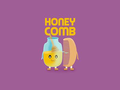 Honey Comb comb honey cute illustration