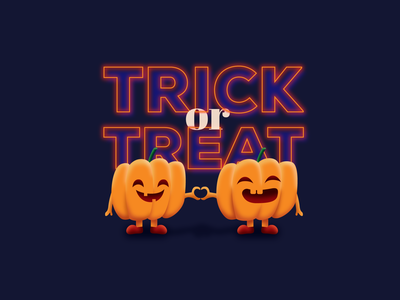 Trick Or Treat cute pumpkin halloween illustration