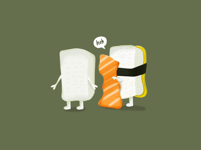 Naked Sushi character japanese salmon funny illustration sushi cute illustration cute