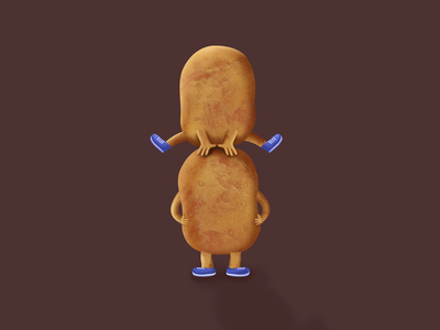 Hoptato realistic potato funny cute illustration