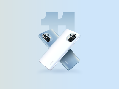 Mi 11 smartphone xiaomi realistic illustration