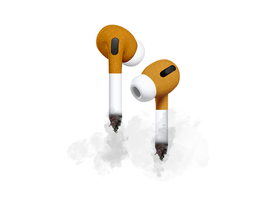 Smoking Hot Audio Experience parody photoshop technology airpods apple realistic adobe funny illustration