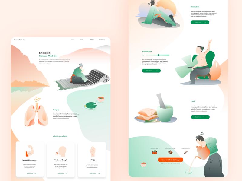 Chinese medicine web design illustration web design ui