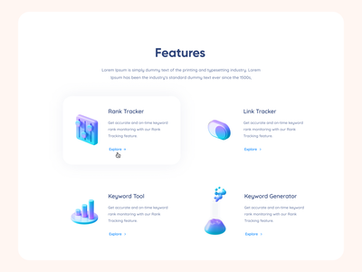 Content Section visual design icons 3d uidesign ui  ux clean section content