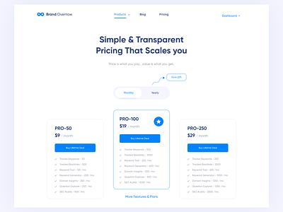Pricing Page - BrandOverflow ui  ux visual design creative simple clean ui uidesign pricing pricing page