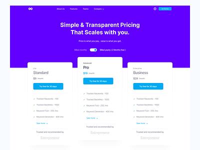 Pricing Hero Header - Brand Overflow clean ui clean minimal pricing page header hero
