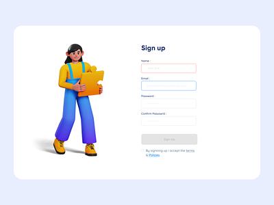 Signup Form clean ui design 3d uidesign ui  ux minimal sign up