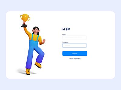 Login Form clean ui clean ui  ux uidesign 3d minimal login