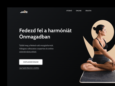 Jave Yoga Studio Online Training Platform yoga fitness training ecommerce elegant minimal design ui