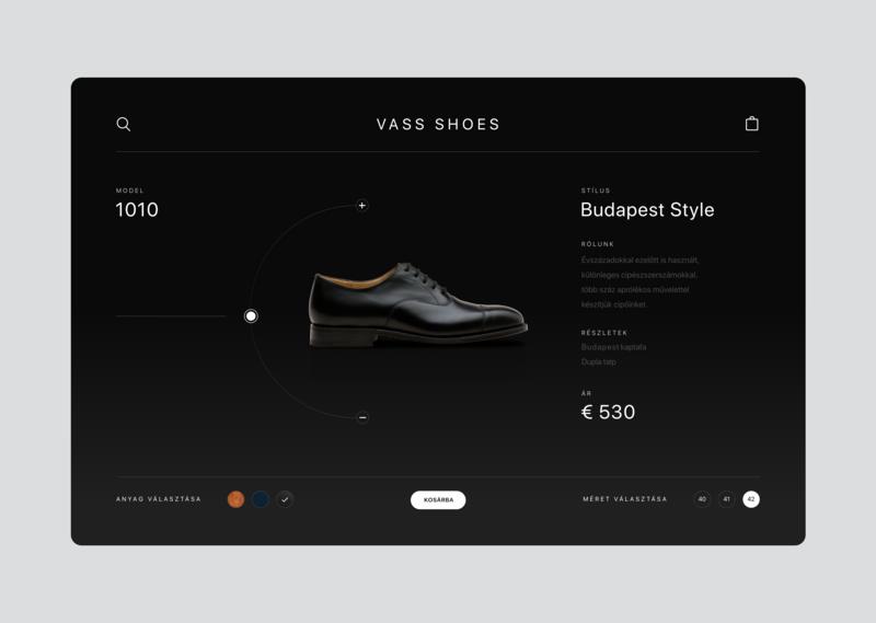 Vass Shoes product page ux branding elegant ecommerce ui design web product footwear