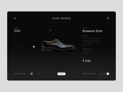 Vass Shoes product page ux branding elegant ecommerce ui design web product footwear