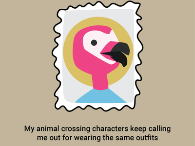 stamps for a pandemic digital illustration hand drawn vector illustration flat illustration flamingo snail mail stamp nintendo switch animal crossing flora