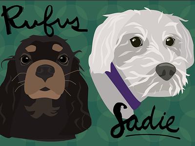 Dog Portrait Commission sadie rufus illustrator dogs dog flat illustration vector illustration art flat color portrait illustration illustrated portrait