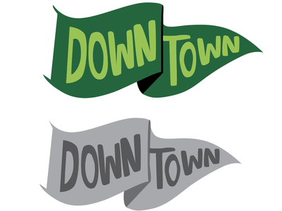 Downtown flag icon newspaper icon adobe illustrator flags illustrator downtown squishy hand lettering green flag