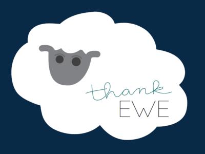 Thank Ewe character art hand drawn font hand drawn type puns punny thank ewe flat illustration sheep illustration thank you sheep ewe