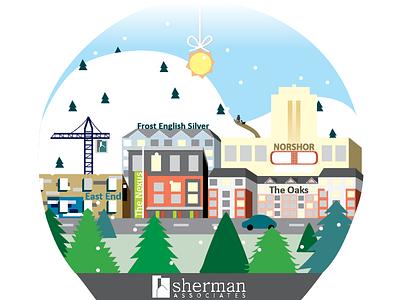 Snow Globe vector hand drawn snow globe cityscape buildings illustrated flat illustration illustration