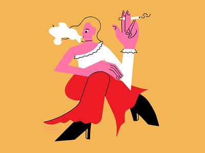 Feeling fancy illustrator character design minimalistic girl procreate lineart illustration