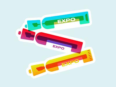Markers dry erase whiteboard pencil pen liner art vector office illustration