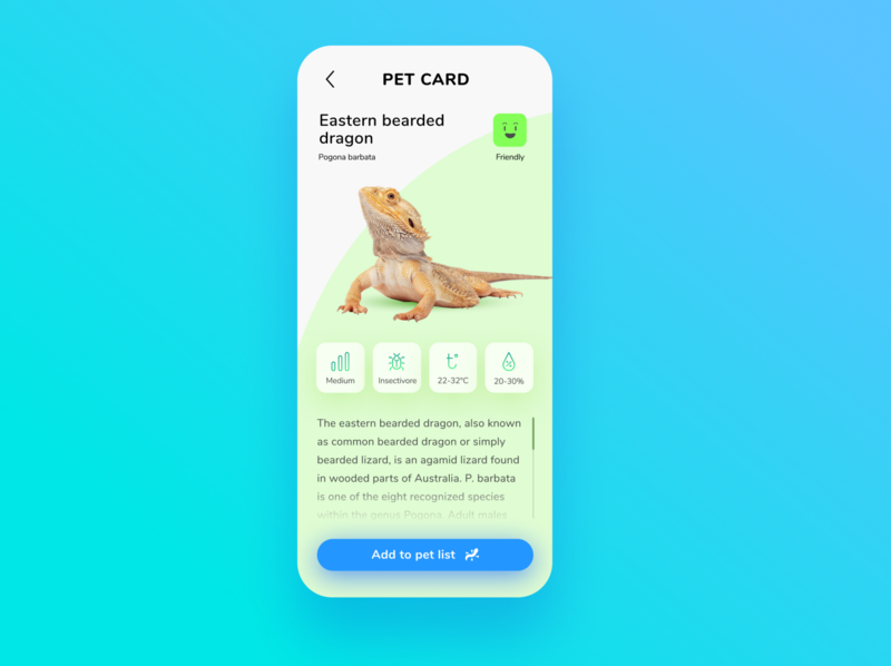 Reptile managment app concept/ pet info modal information mobile app mobile ui mobile pet app ui design