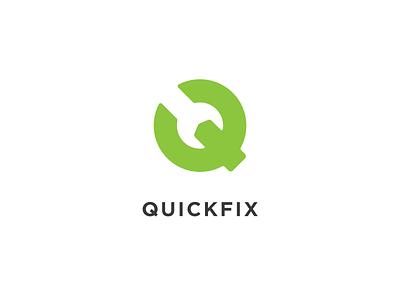 Quickfix - Branding logo negative space mark green wrench fix repair q quick simple minimal