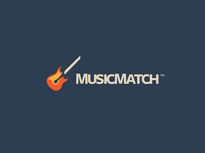 MusicMatch Branding guitar music design mark logotype branding identity match space negative logo fire