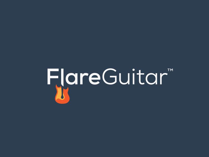 FlareGuitar - Branding guitar music design mark logotype branding identity match space negative logo fire