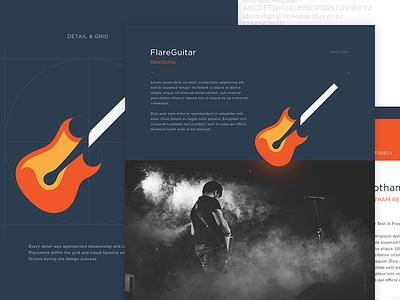 FlareGuitar - Branding Case Study layout web study case minimal website branding flat design clean music guitar