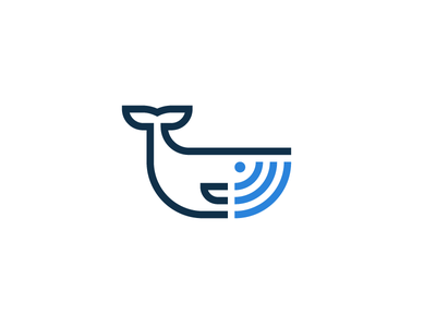 Whale Call fish call wifi ocean whale branding concept logo flat logotype mark minimal