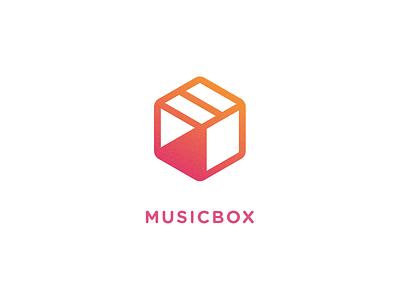 MusicBox stop pause play cube box music design mark logotype branding identity logo