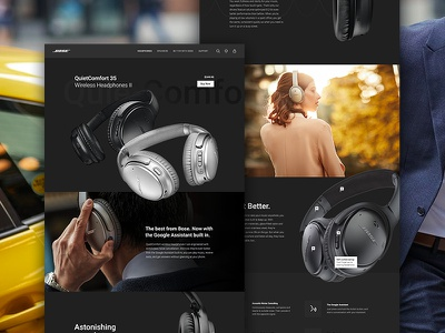 Bose QuietComfort Product Page Redesign dark responsive ux ui music product page landing website web