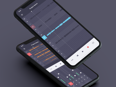 Mobile Audio Workstation play record audio experience mobile x iphone dark interface music ux ui