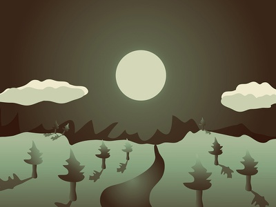 """""""I Love Dreaming The Horizon"""" Illustration illustration ai night darkness trees clouds mountains smooth playful calm creative"""