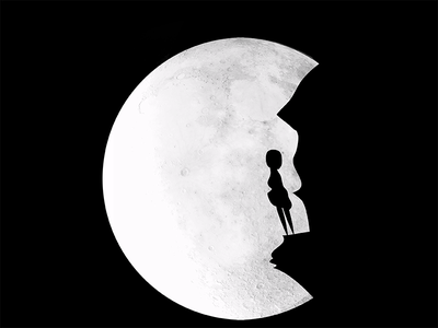 Woman And The Moon  woman moon night darkness black white illustration ai graphic calm