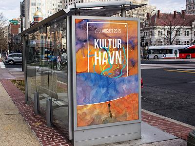 Kulturhavn Festival 2015 Poster sea ocean orange waves man standing colorful vortex watercolor station poster advertisement