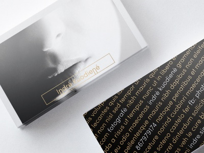 """""""Indrė Šipaitė Photography"""" Business Card business card photography photographer modern portrait luxurious contrasting non-standard new-generation lithuania screen-printing"""