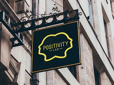 Positivity Lab Logo liveliness yellow businesses startups freelancers community workspace sharing company lab positivity logo
