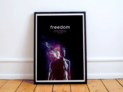 Freedom Poster modern art print digital interior contrast clean quote speech galaxy poster freedom