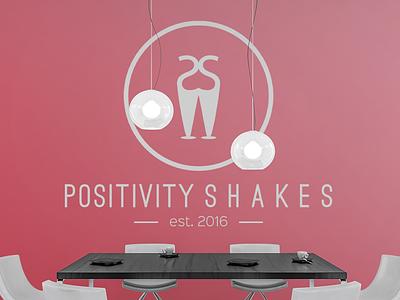 Positivity Shakes Logo organic aesthetics tasty vintage pink company business startup logo positivity cafe shakes