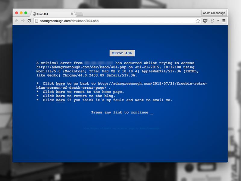 Freebie: Retro blue-screen-of-death error page freebie