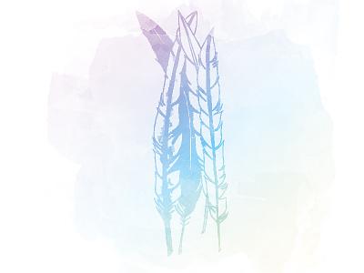 Feathers illustration bird feather watercolour gradient illustration
