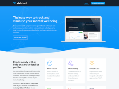 Vividwell Landing Page saas app features mockup laptop blue page landing