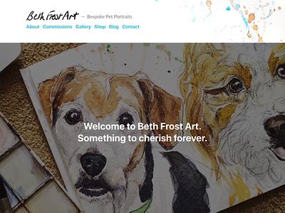 Beth Frost Art Website branding illustration ui design page painting paint web design wordpress artist