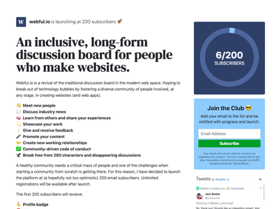 Webful.io Pre-launch Landing Page
