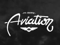 Fort Crown Aviation vector vintage aviation airplane typography design logo