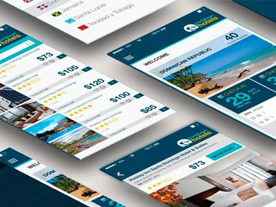 Caribbean Hotels App Concept shot 1 app ux design