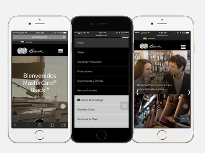 Building Mobile Experience for MasterCard® Black™ frontend ui ux webdesign responsive