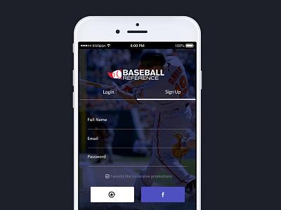 MLB Reference App Login Screen